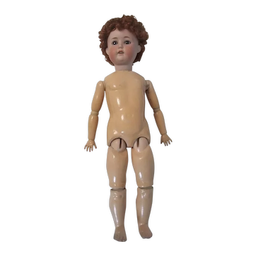 German Bisque Head Doll with Crown Mark Antique