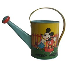 Walt Disney Ent Mickey Mouse Lithographed Metal Watering Can Vintage Ohio Art
