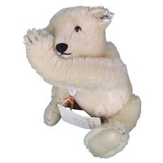 1985 Steiff White Mohair Teddy Bear with Leather Paw Pads