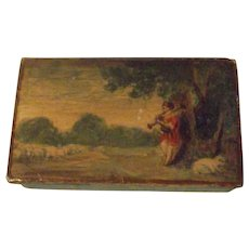 Vintage Lacquer Hand Painted Box Shepherd Scene