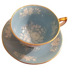 Aynsley fine bone china footed tea cup and saucer Green