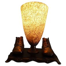 Atomic Lamp with bronzed baby shoes