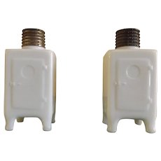 Vintage Milk Glass Refrigerator Box Salt and Pepper Shakers