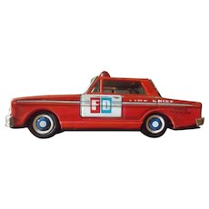Vintage Friction Tin Toy Fire Chief Car