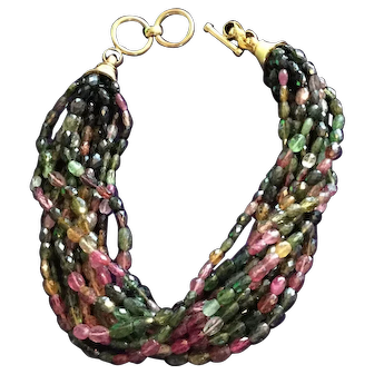 Vintage Saks fifth avenue Tourmaline runway necklace 12 strands 14.2 ounce