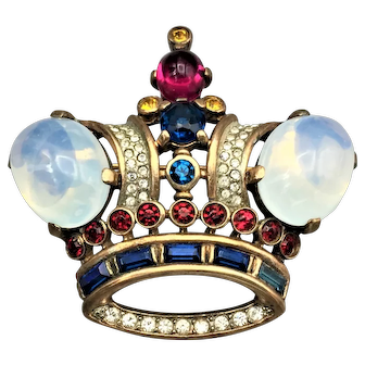 "Vintage Classic Alfred Philippe for TRIFARI ""King"" Crown Sterling Brooch"