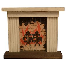 Vintage Kage Dollhouse Fireplace with Painted Mantle