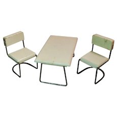 Vintage Larger Scale Kage Dollhouse Table and Two Chairs