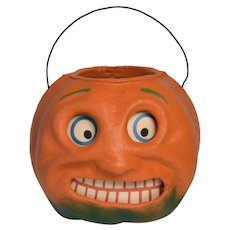 """Seasons Gone By"" Vintage Style Halloween Paper Pulp Spooky Orange JOL Lantern"