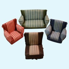 Set of Four Colorful Striped Fabric Dollhouse Furniture