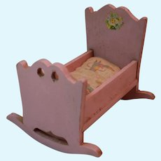 Strombecker Pink Dollhouse Cradle with Floral Decal