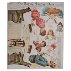 Rare 1895 Thanksgiving Day Litho Supplement to the Boston Sunday Globe