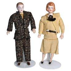 Pair of 1920's/30's German Bisque Dollhouse Dolls, Original Clothes