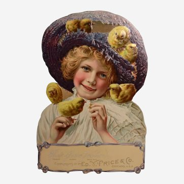 Beautiful 1906 German Easter Die Cut Advertising Card with Easel Back