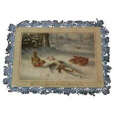 Victorian Christmas Fringe Card with Peg Doll image