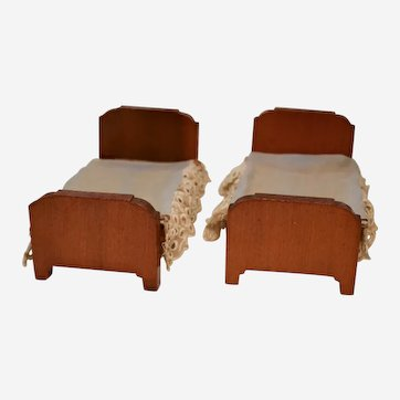 Pair of Kage Wood Dollhouse Beds