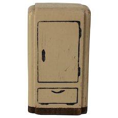 "Vintage Kage 3/4"" Scale Dollhouse Wood Refrigerator"