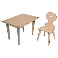 Early  Germany Marklin Tin Dollhouse Table and Chair