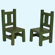 Pair of Vintage Painted Wood Dollhouse Chairs, possibly Schoenhut