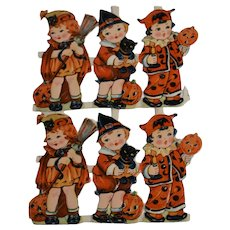 Small German Embossed Halloween Lithographic Paper Scraps, Partial Set