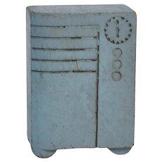 "Strombecker 3/4"" Scale Dollhouse Modern Art Deco Floor Radio, painted blue"