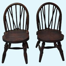Red Stained German Dollhouse Windsor chairs
