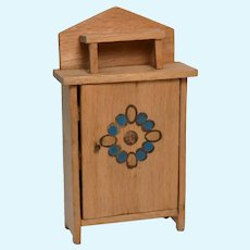 Small Vintage Wood Dollhouse Cabinet with Stencilled Door Pattern