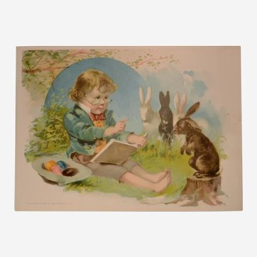1893 Woolson Spice/Lion Coffee Easter Trade Card, Barefoot Boy Reading to Bunnies