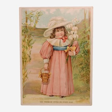 "1894 Antique Easter Woolson Spice Trade Card, ""Easter Greetings for Grandma"""