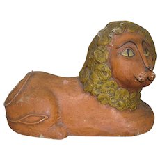 Primitive Circa. 1890's Folk Art Paper Mache Lion