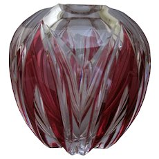 Vintage Circa. 1920's Val St. Lambert Cranberry Cut to Clear Art Glass Vase