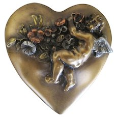 Vintage Circa. 1910 Bronze Mixed Metal Heart Paperweight with Cherub and Flowers