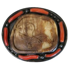 Navajo Toni Curtis Belt Buckle with Carved Eagle Marked TC