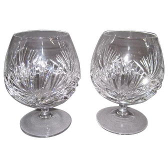 Pair of Vintage GORHAM CHERRYWOOD Cut Glass Brandy Snifter Glasses