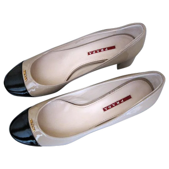 PRADA Calzature Donna Patent Leather Pumps High Heel Shoes size 39 NEW IN BOX