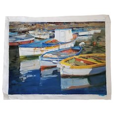 """Boats in the Harbor"" Acrylic on Canvas by Raimondo Roberti"