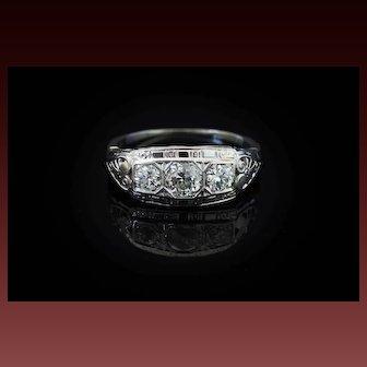 Colorless Deco Diamond Engagement Ring Art Deco Gypsy Three Stone Ring 18K