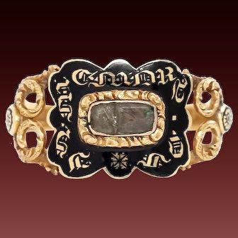 "Victorian 18k Mourning Ring, Momento Mori Ring,""Lucey Woody 1839"", 18k Black Enameled Ring"