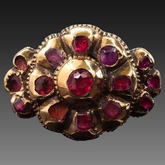 Ruby Ring,Iberian Ruby Cluster Ring, Antique Ruby Ring 15k, Spanish 17th Century Ring
