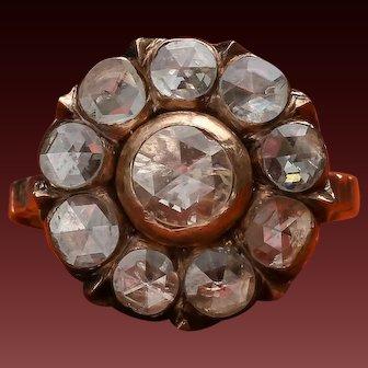 Victorian Diamond Ring,Antique Victorian Cluster Ring,Circa 1800s, Rose Cut Diamond,Rose Cut