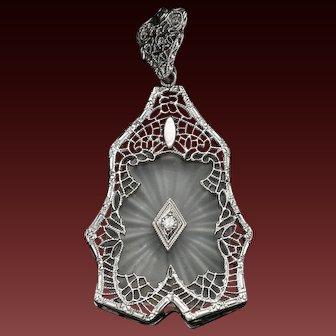 Deco Camphor Glass,14K, White Gold, Art Deco Camphor Glass, Star Burst, Flapper Jewelry