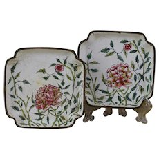 Pair of Chinese Qing Dynasty Canton Enamel Trays