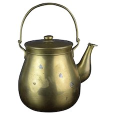 Chinese Qing Brass and Silver Teapot