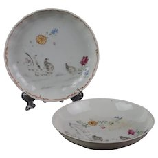 Chinese 18th c. Porcelain Dishes with Painted Quails