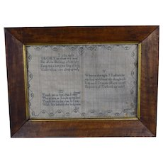 Early Antique Sampler in Period Frame Dated 1802