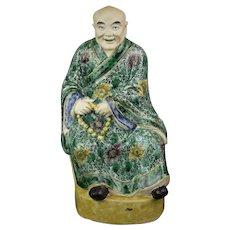 Fine Chinese 18/19th Century Famille Verte Lohan Figure
