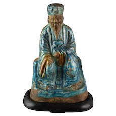 Chinese Ming Fahua Glazed Figure of an Immortal