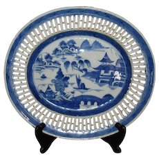 Chinese Export Canton Blue and White Reticulated Platter