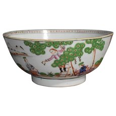 Rare Chinese Export 18th c. Cherry Pickers Bowl