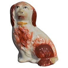Staffordshire Pottery 19th c. Orange Spaniel Figure